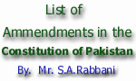 List of Ammendments in the Constitution of Pakistan